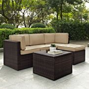 Crosley Furniture Palm Harbor Patio Sectional Chair, Ottoman & Coffee Table 5 pc Set