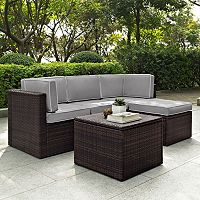 Crosley Furniture Palm Harbor Patio Sectional Chair, Ottoman & Coffee Table 5-piece Set