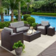 Crosley Furniture Palm Harbor Patio Loveseat, Arm Chair, End Table & Coffee Table 5-piece Set