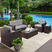 Crosley Furniture Palm Harbor Patio Loveseat, Arm Chair, End Table & Coffee Table 5 pc Set