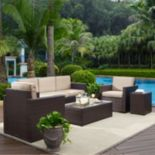Crosley Furniture Palm Harbor Patio Sofa, Arm Chair, End Table & Coffee Table 5-piece Set