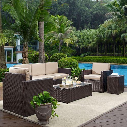 Crosley Furniture Palm Harbor Patio Sofa, Arm Chair, End Table & Coffee Table 5-piece Set