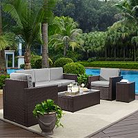 Crosley Furniture Palm Harbor Patio Sofa, Arm Chair, End Table & Coffee Table 5 pc Set