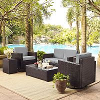 Crosley Furniture Palm Harbor Patio Loveseat, Swivel Chair, End Table & Coffee Table 5-piece Set