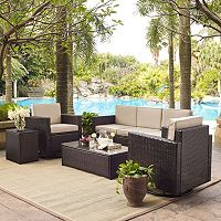 Crosley Furniture Palm Harbor Patio Sofa, Swivel Chair, End Table & Coffee Table 5 pc Set