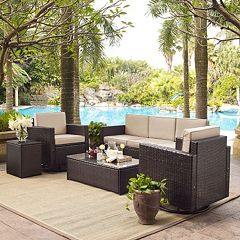 Crosley Furniture Palm Harbor Patio Sofa, Swivel Chair, End Table & Coffee Table 5-piece Set
