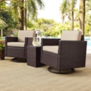Crosley Furniture Palm Harbor Patio Swivel Chair & End Table 3-piece Set