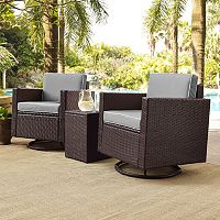 Crosley Furniture Palm Harbor Patio Swivel Chair & End Table 3 pc Set
