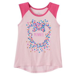 Disney's Minnie Mouse Girls 7-16 Glitter Polka-Dot Graphic High-Low Hem Tank Top