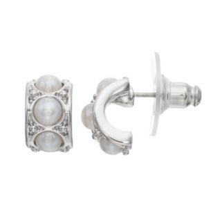 Simply Vera Vera Wang Nickel Free Simulated Pearl Half Hoop Earrings