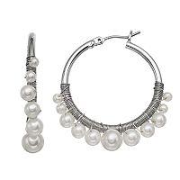 Simply Vera Vera Wang Nickel Free Graduated Simulated Pearl Hoop Earrings