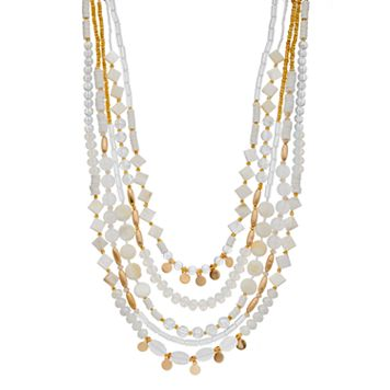 White Beaded Multi Strand Necklace