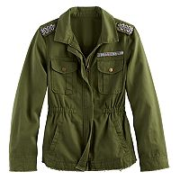 Girls 7-16 Mudd® Beaded Twill Utility Jacket
