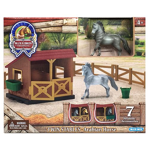 Blue Ribbon Champion Horses 1:32 Twin Stables Arabian Horse Playset