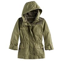 Girls 7-16 Mudd® Lightweight Jacquard Pieced Utility Jacket