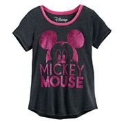 Disney's Mickey Mouse Girls 7-16 Big Head Glitter Graphic Tee