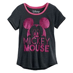 Disney's Mickey Mouse Girls 7-16 Big Head Glitter Graphic Tee