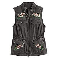 Girls 7-16 Mudd® Flower Embroidered Utility Vest