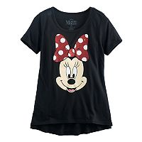 Disney's Minnie Mouse Girls 7-16 Big Face Glitter Graphic Tee