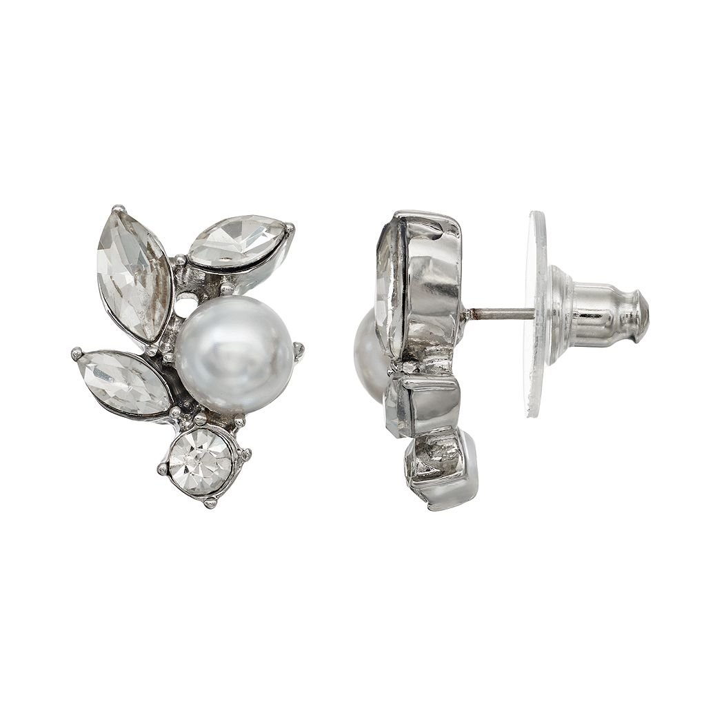 Simply Vera Vera Wang Nickel Free Faceted Stone & Simulated Pearl Cluster Stud Earrings