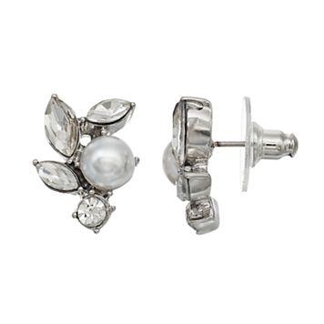 Simply Vera Vera Wang Nickel Free Faceted Stone & Simulated Pearl Cluster Stud Earrings