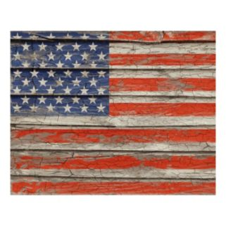 Weathered Old Glory Canvas Wall Art