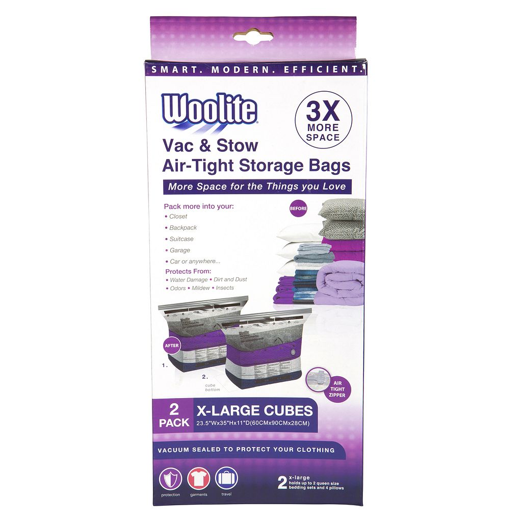 Woolite 2-pack Vac & Stow Extra Large Cube Airtight Vacuum Storage Bags