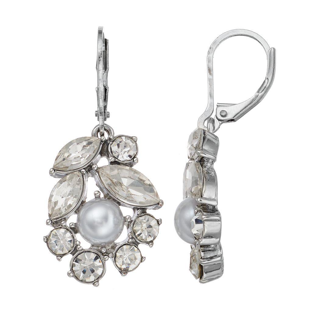 Simply Vera Vera Wang Nickel Free Simulated Pearl & Faceted Stone Cluster Drop Earrings