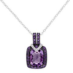 Stella Grace Sterling Silver Amethyst, African Amethyst & Diamond Accent Halo Pendant