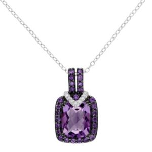 Sterling Silver Amethyst, African Amethyst & Diamond Accent Halo Pendant