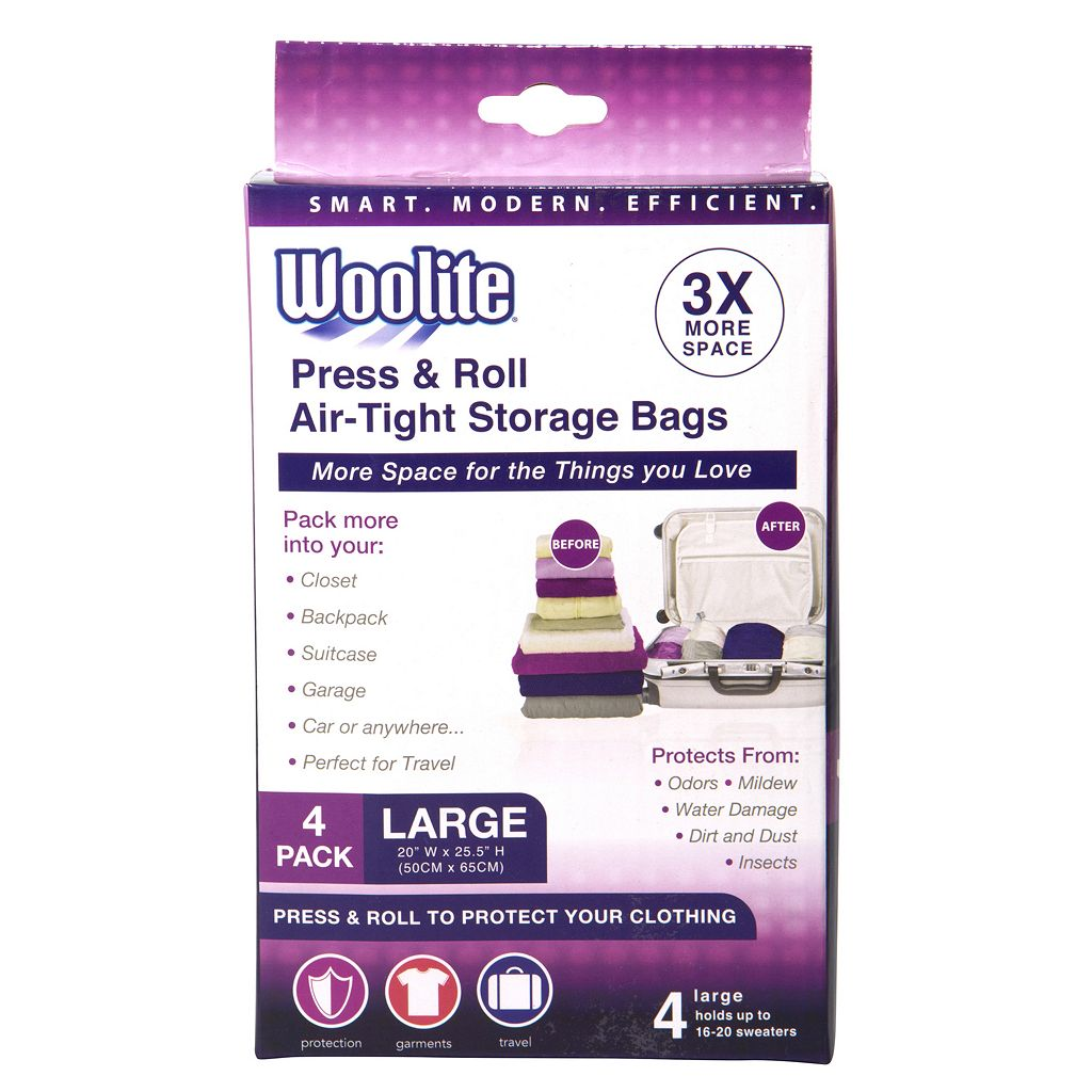 Woolite's 4-pack Press & Roll Large Airtight Vacuum Storage Bags