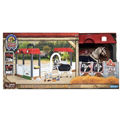 Blue Ribbon Champion Horses Grooming Lipizzaner Deluxe Horse & Stable Set