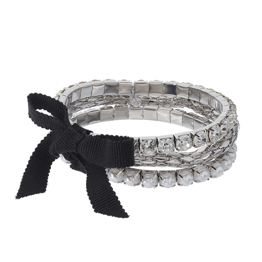 Simply Vera Vera Wang Simulated Crystal & Popcorn Chain Multi Strand Stretch Bracelet