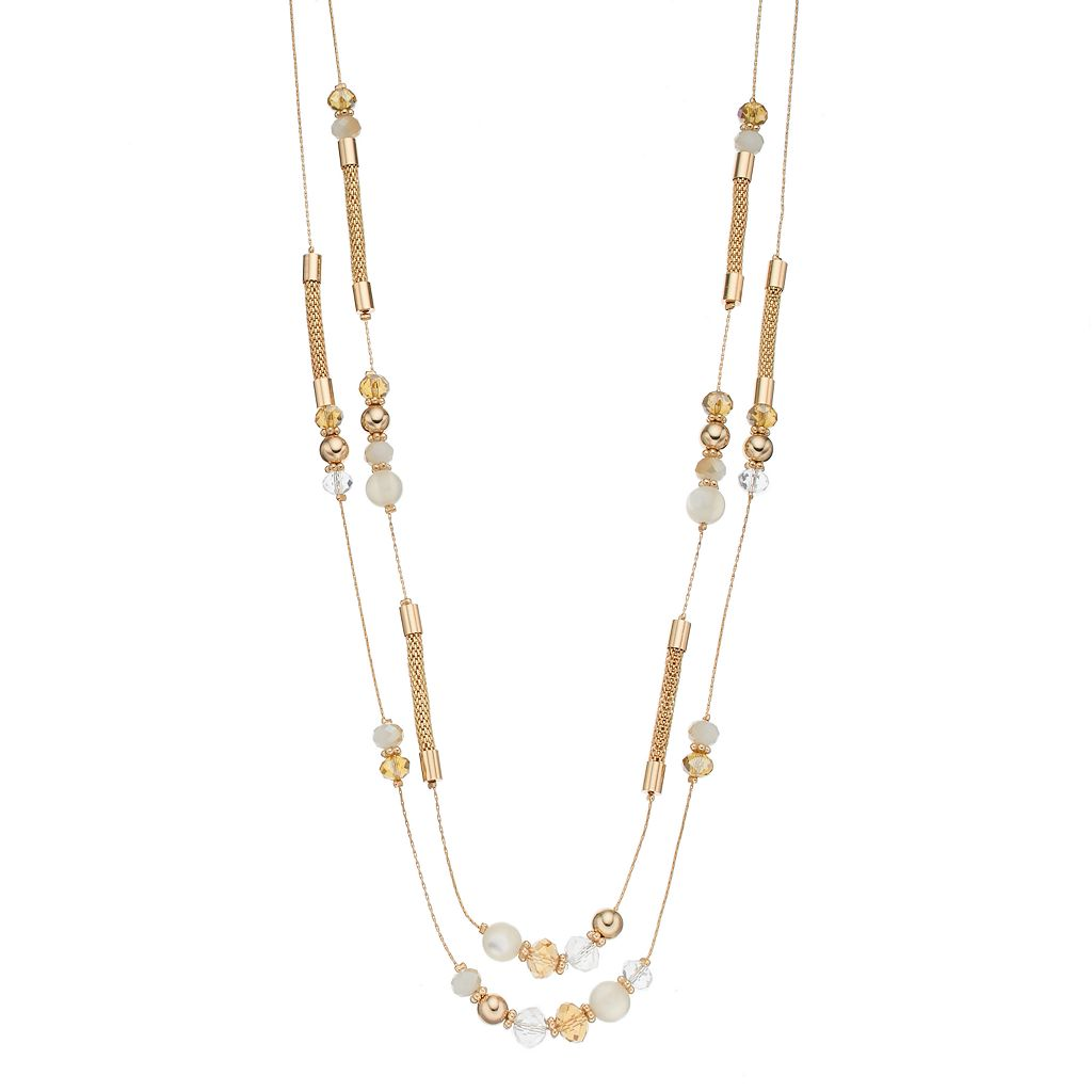 Long White Bead & Mesh Double Strand Necklace