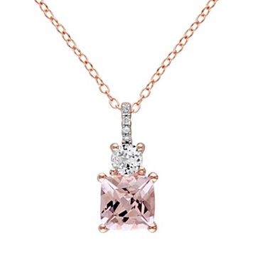 Sterling Silver Gemstone & Diamond Accent Pendant Necklace