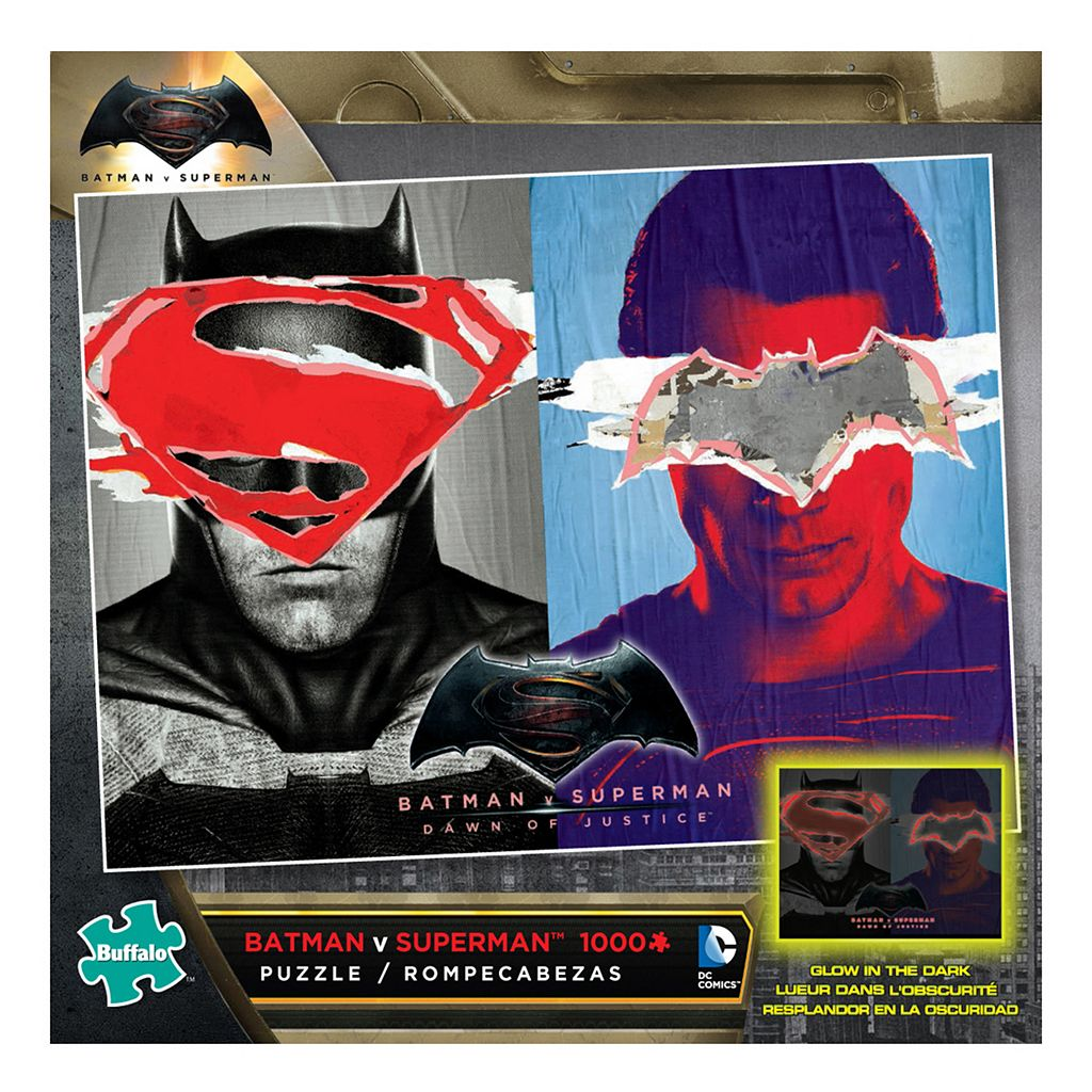 Batman v Superman: Dawn of Justice 1000-pc. Glow-in-the-Dark Jigsaw Puzzle by Buffalo Games