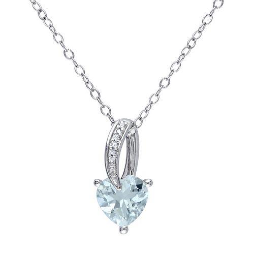 Stella Grace Sterling Silver Aquamarine & Diamond Accent Heart Pendant