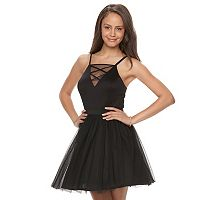 Juniors' Lily Rose Strappy Tulle Skater Dress