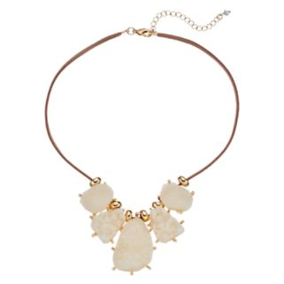 White Simulated Drusy Faux Suede Necklace