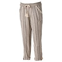 Juniors' Rewind Ruffle Linen-Blend Jogger Pants