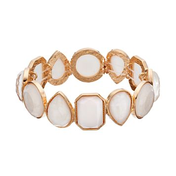 White Geometric Stone Stretch Bracelet