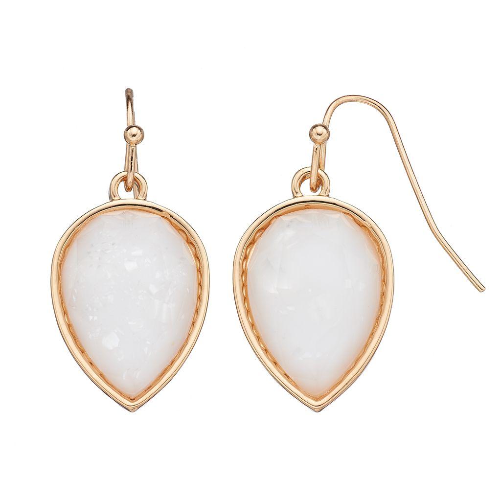 Inverted White Teardrop Earrings