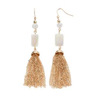 White Beaded Chain Tassel Drop Earrings