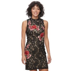 Juniors' Lily Rose Lace Mock Neck Bodycon Dress