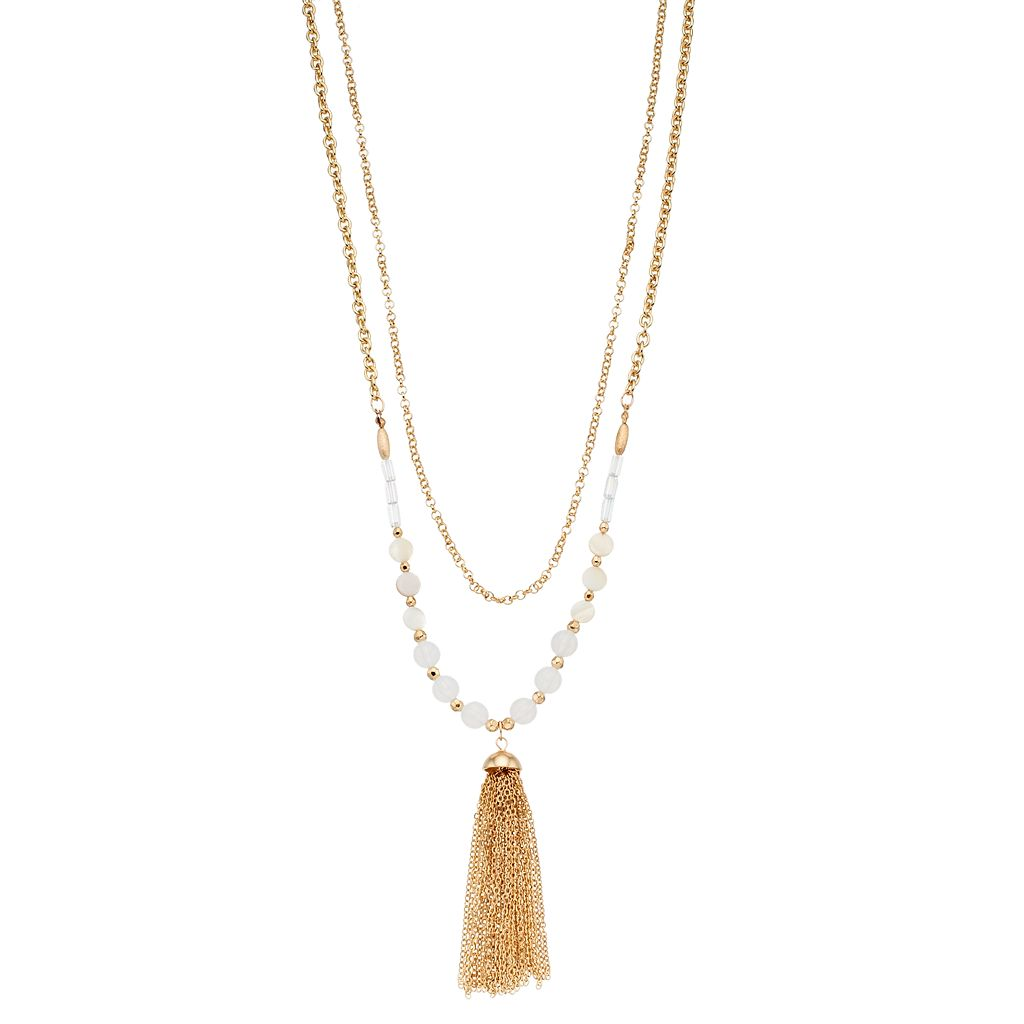 Long Beaded Double Strand Tassel Pendant Necklace