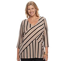 Plus Size Dana Buchman Print Bias Cut V-Neck Top