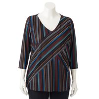 Plus Size Dana Buchman Striped Ribbed Top