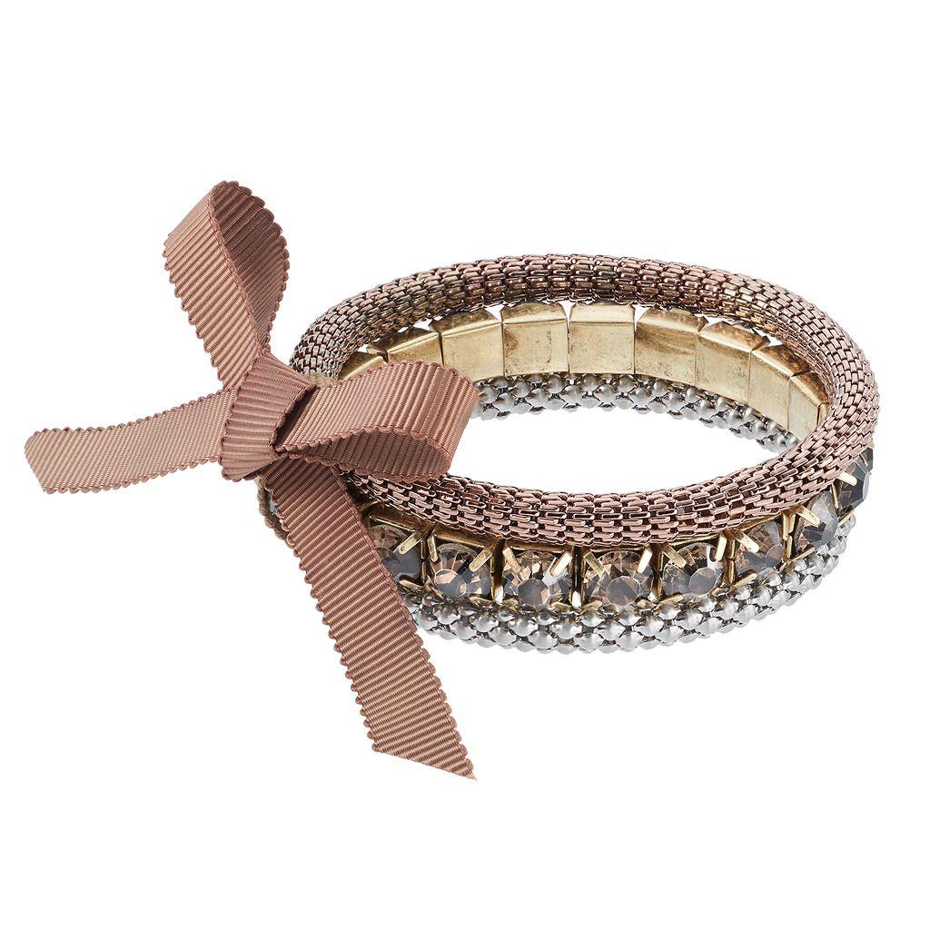 Simply Vera Vera Wang Tri Tone Popcorn Chain & Faceted Stone Stretch Bracelet Set