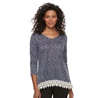 Women's Kate and Sam Space-Dyed Crochet Hem Top