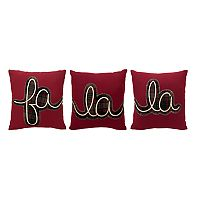 St. Nicholas Square® ''Fa La La'' 3-piece Small Throw Pillow Set